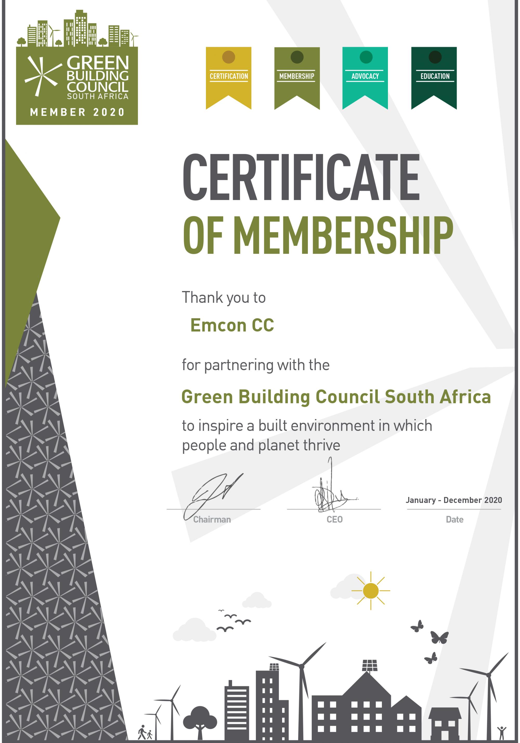 Green Building - Membership Certifcate 2019
